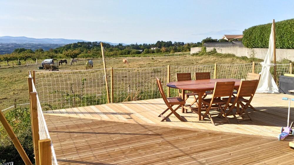 Filet périphérique pour terrasse en bois