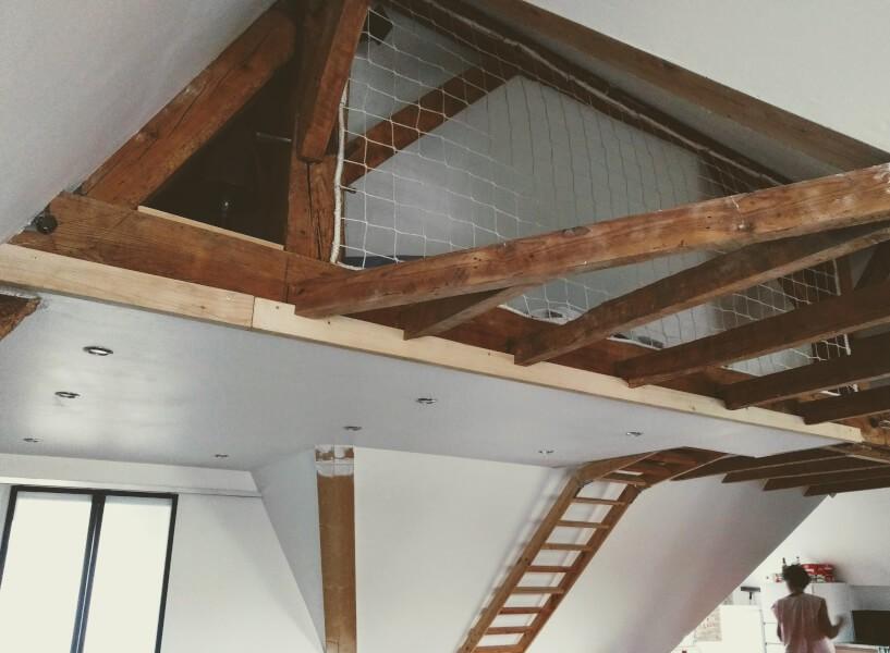 Filet garde-corps pour espace sous comble en mezzanine