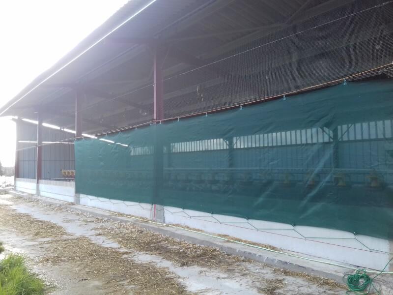 Filet brise-vent pour hangar industriel et agricole