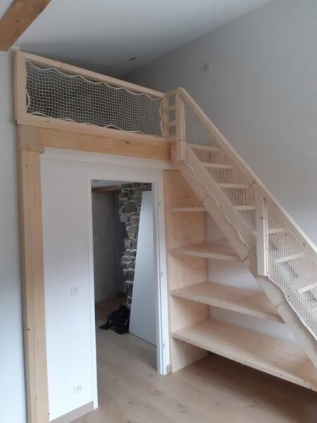 filet blanc pour escalier bois