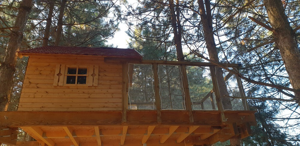 filet securité cabane en bois