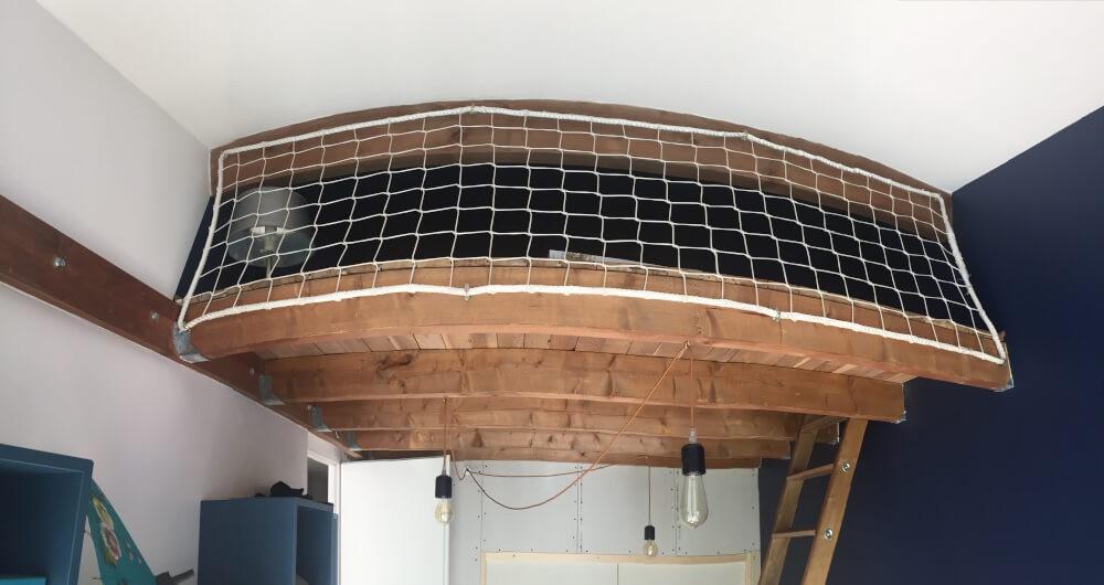 Filet de sécurité anti-basculement pour lit mezzanine