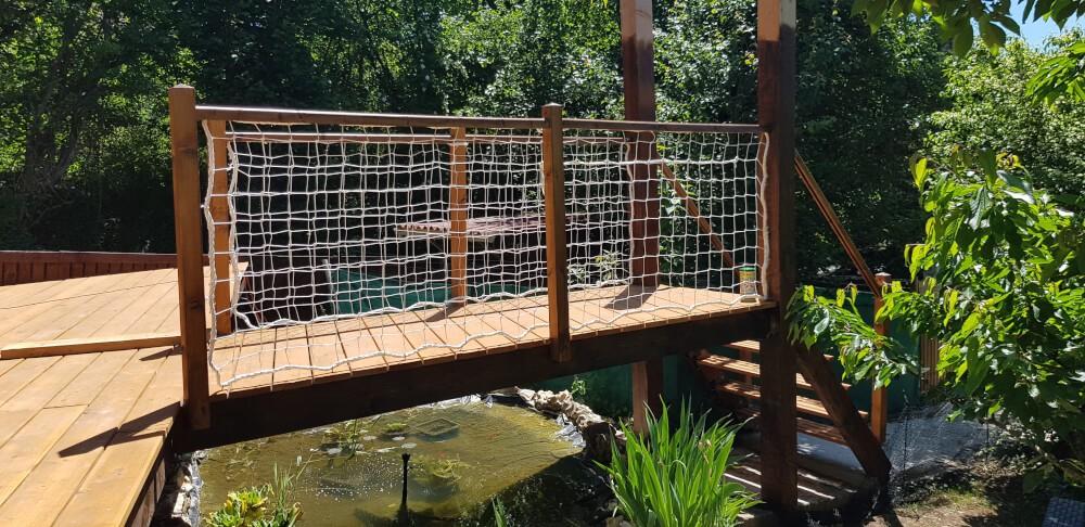 Filet de sécurité pont en bois