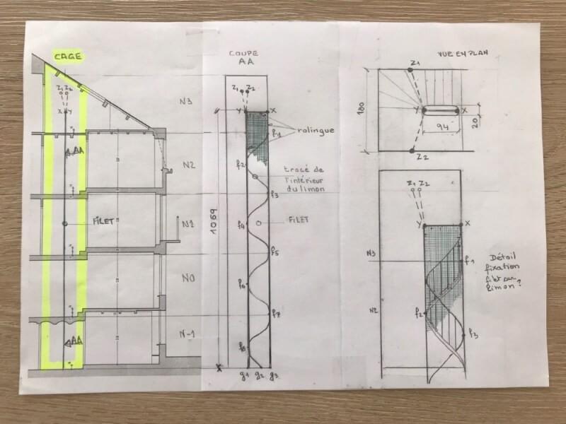 Plan de pose pour filet escalier en colimaçon