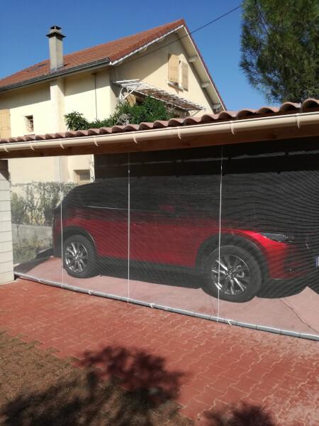 Filet anti-grêle latéral pour abri de voiture