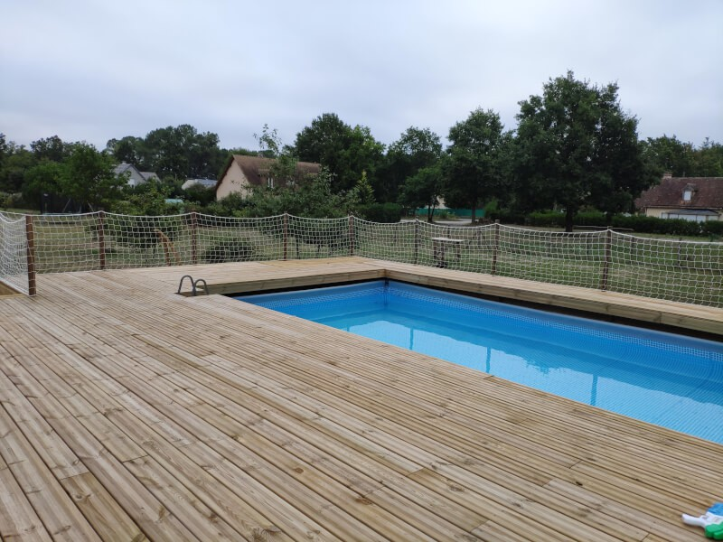 Filet de protection pour piscine, effet naturel