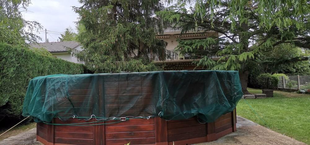 Filet couverture anti-feuilles pour piscine hors sol