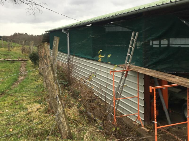 Filet brise-vent pour hangar agricole