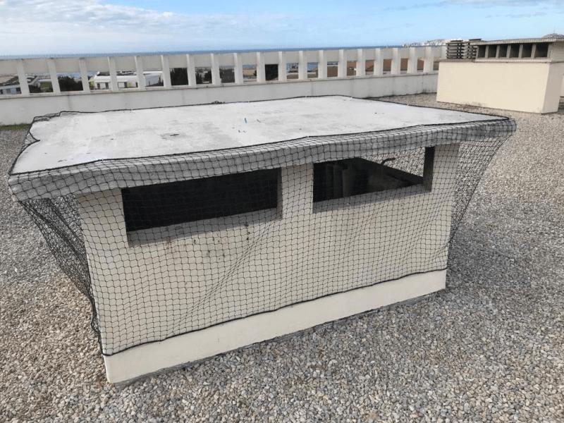 Mise en place de 7 filets pour lutter contre les goélands et les pigeons sur le toit d'un immeuble