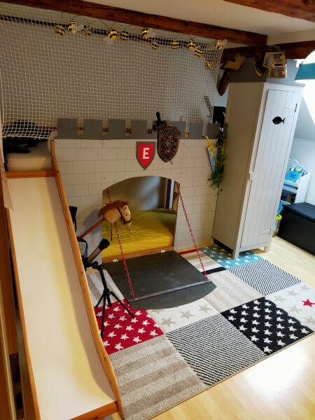Filet de protection pour lit mezzanine enfants type château fort