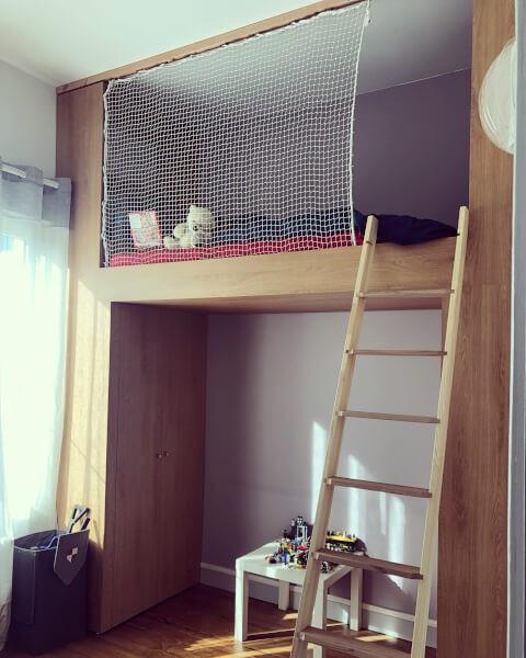 Filet de protection enfants sur-mesure pour lit mezzanine