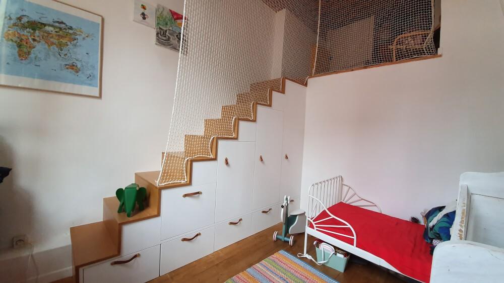 Filet de protection enfants pour escalier sans garde-corps