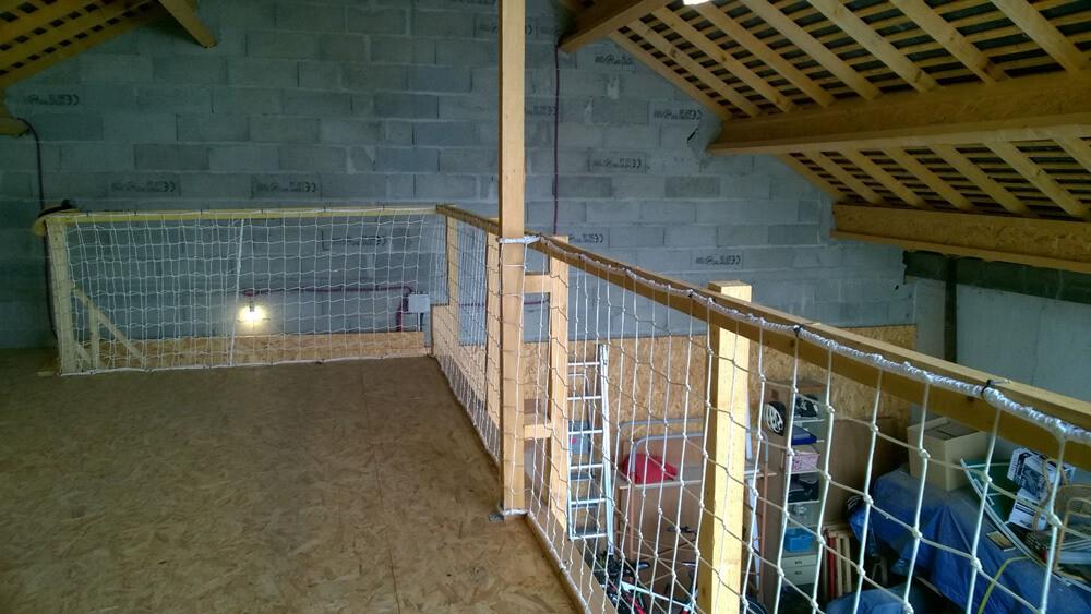 Filet garde-corps pour grenier en mezzanine