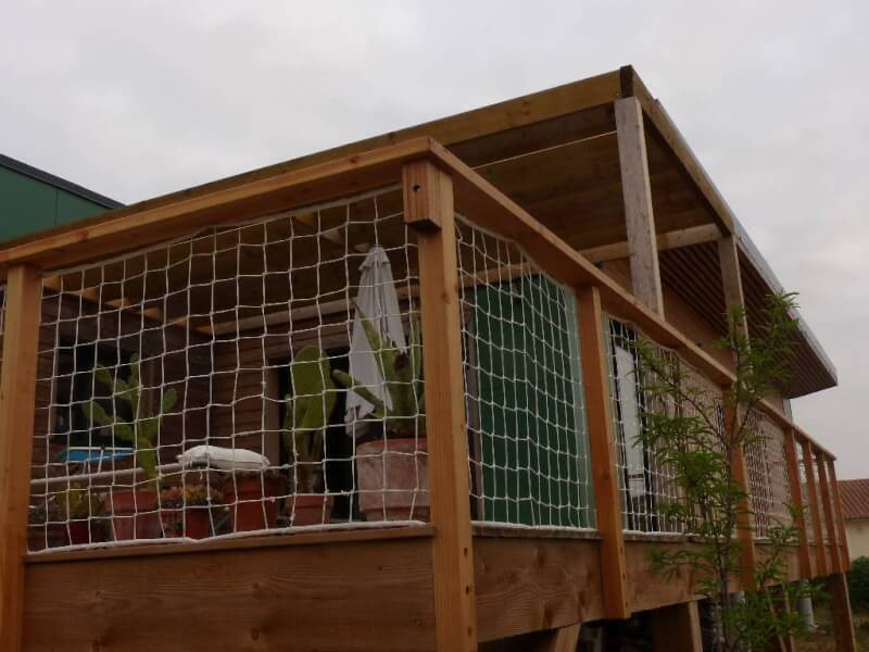 Filet garde-corps pour terrasse en bois