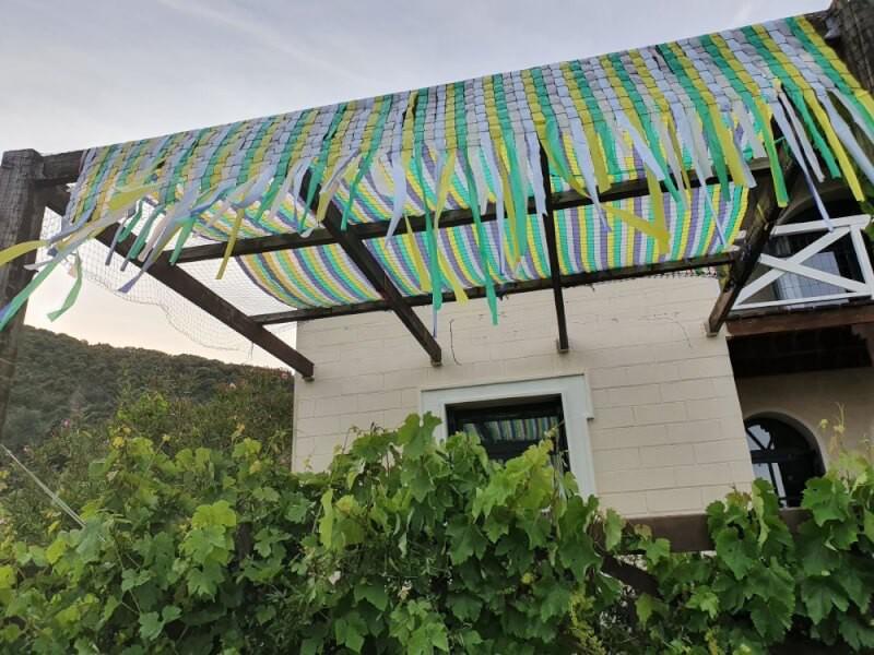Usage original d'un filet pour recouvrir une terrasse avec bandes colorées