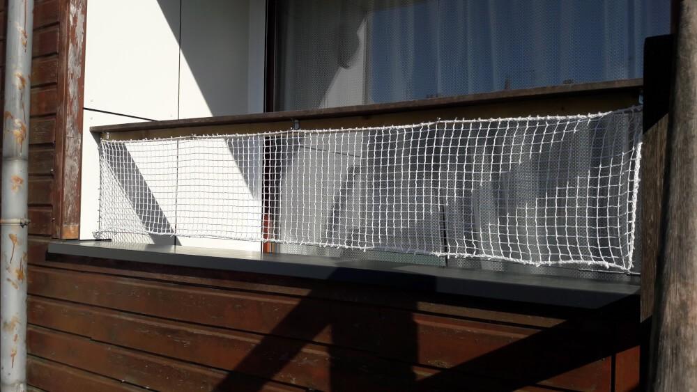 Sécurisation d'un balcon avec filet de protection enfants