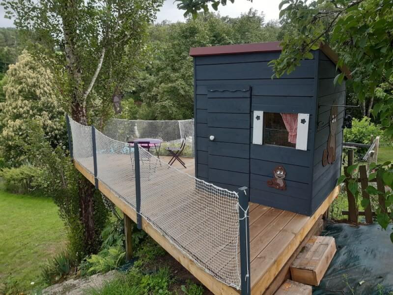Filet de protection enfant pour sécuriser une cabane de jardin
