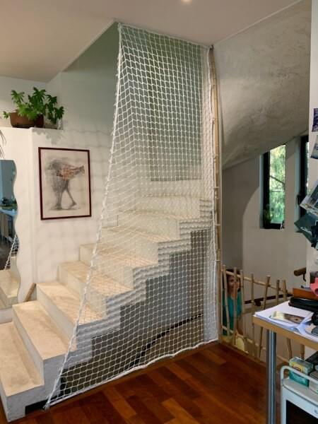 Filet garde-corps pour fermer un escalier sans rambarde