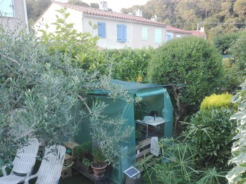 Filet d'ombrage anti canicule pour petite serre dans un jardin privé