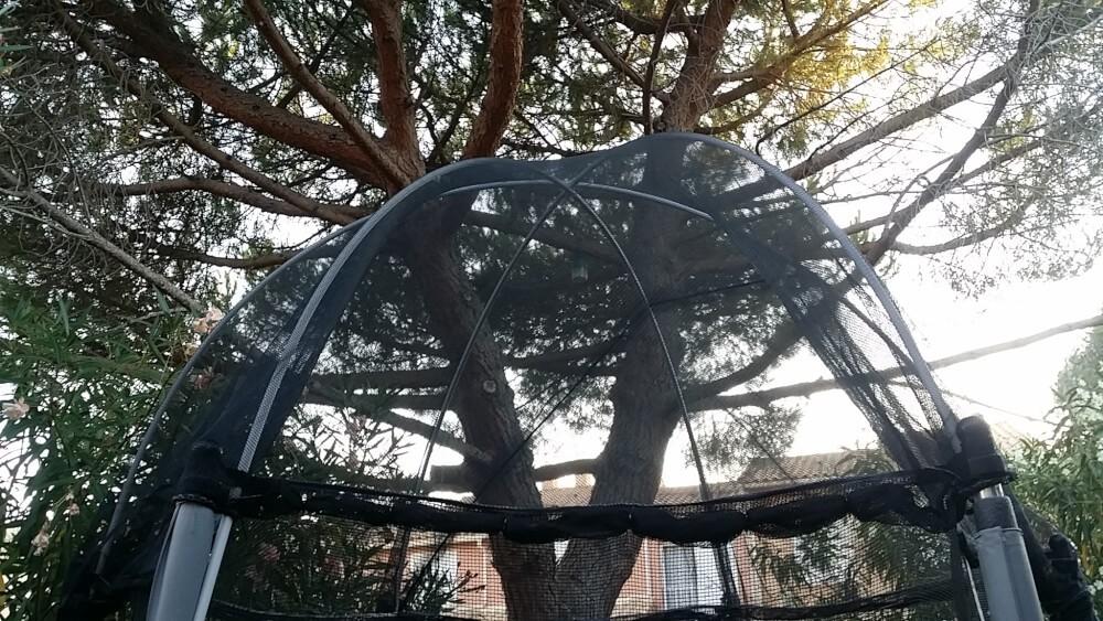 Filet de protection contre les aiguilles de pin sur trampoline