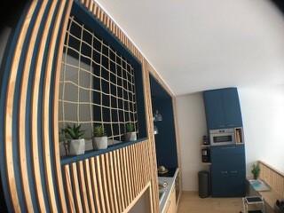 Filet garde-corps en chanvre synthétique pour une mezzanine