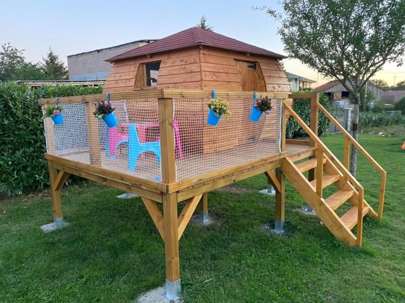 Filet garde corps pour cabane artisanale enfants