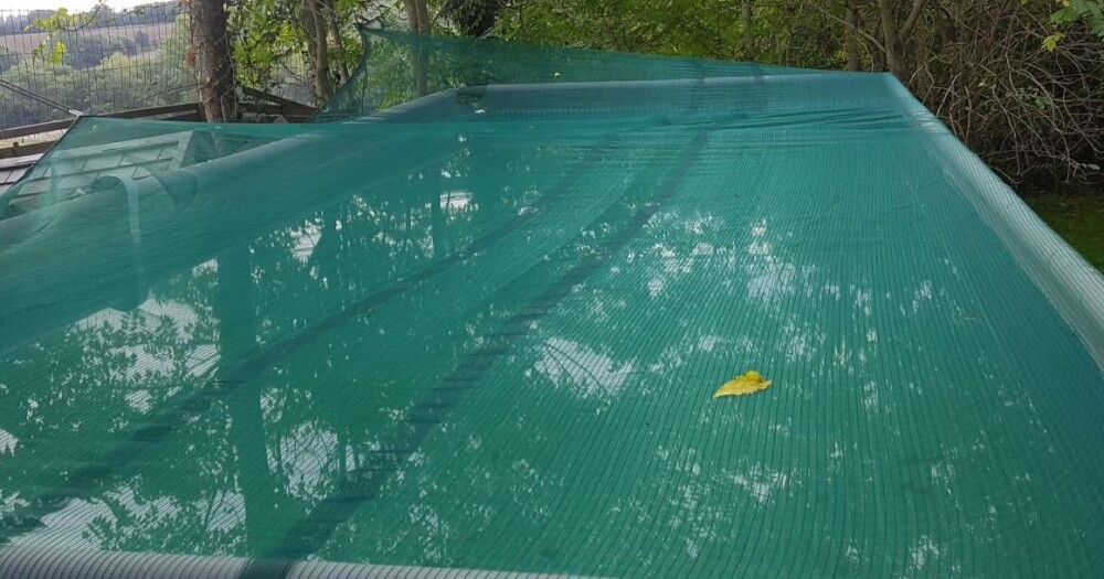 Filet antifeuilles installé sur piscine entourée de végétation