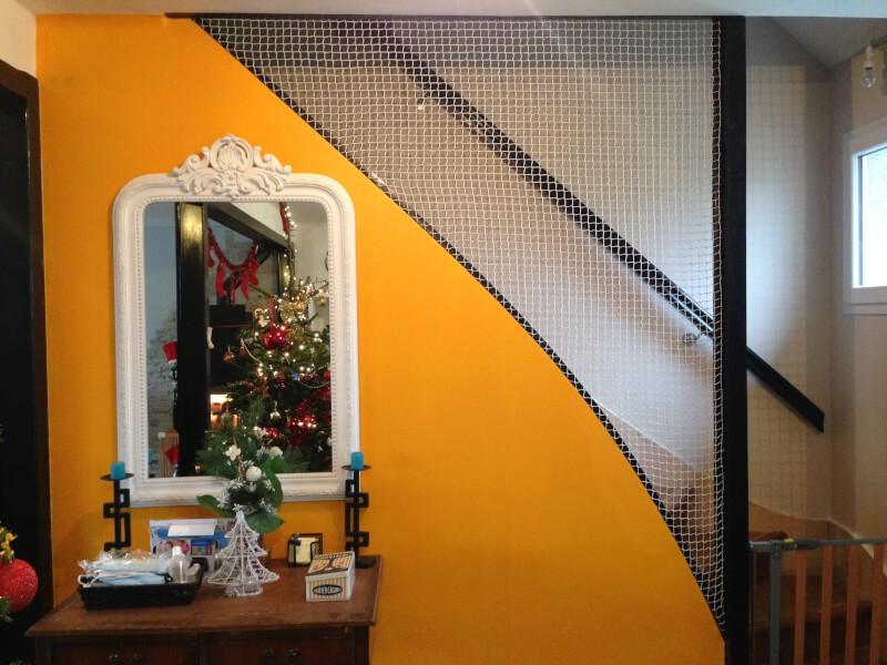 Filet polyamide pour sécuriser notre cage d'escalier