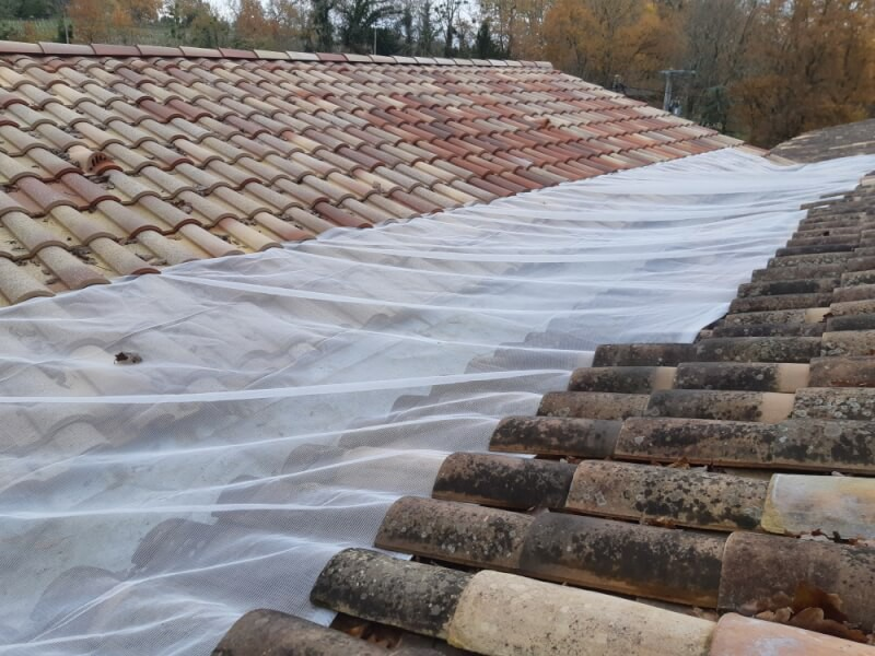 Filet anti-feuilles de protection pour chéneau toiture