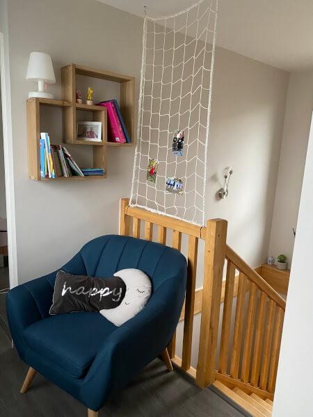 Filet de protection garde-corps pour coin lecture en haut des escaliers
