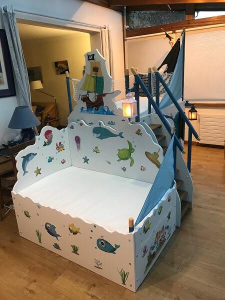 Filet de protection pour lit enfant bateau pirate