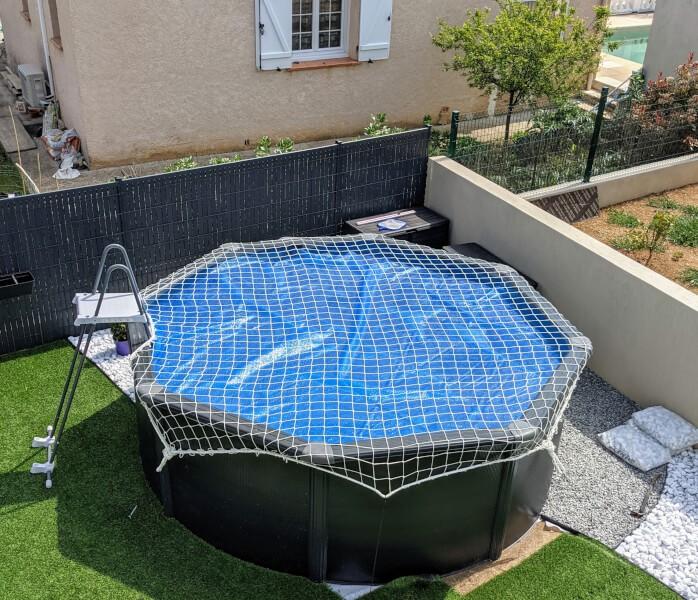 Filet de sécurité anti-chute EN 1263-1- mailles 100mm pour sécuriser une piscine hors-sol
