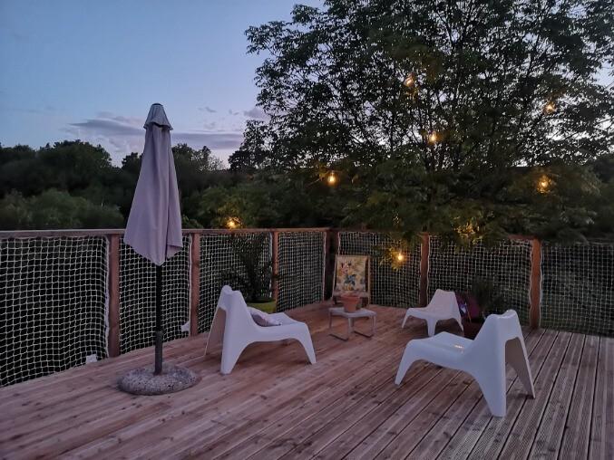 Filets garde corps pour une terrasse suspendue