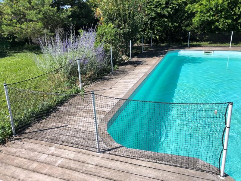 Filet de protection de piscine pour éduquer un chiot