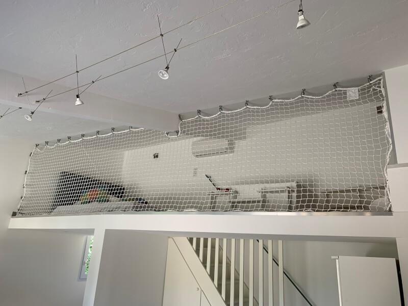 Installation du filet de la mezzanine